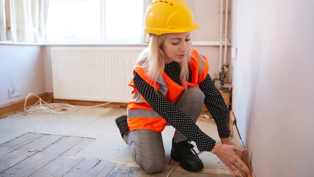 a woman conducting a house survey